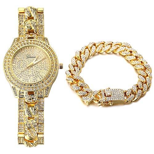 Halukakah Reloj de Oro Hombres Iced out,Chapado en Oro Real de 18k Pulsera de Cuarzo con Banda Cadena Cubana 9.5'(24cm),con Pulsera Cubana 8'(20cm),Diamante de Laboratorios,Gratis Caja de Regalo
