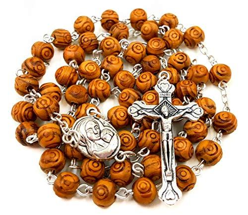 Nazareth Store - Collar de rosario de oración católica tallada con cuentas de madera de olivo y cruz de metal