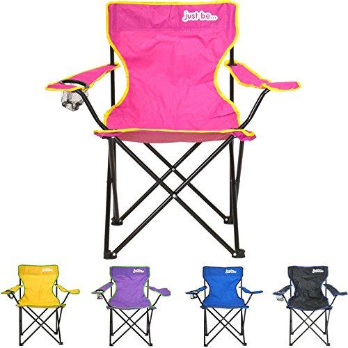 just be...… Sedia da Campeggio Pieghevole - Rosa con Bordi Gialli