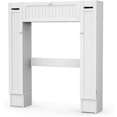 DREAMADE Etagère Salle de Bain Au-Dessus de Toilettes WC Machine à Laver, Peu Encombrant Divers Rangements avec Porte avec Support de Papier Toilette, Planches Réglables, Blanc