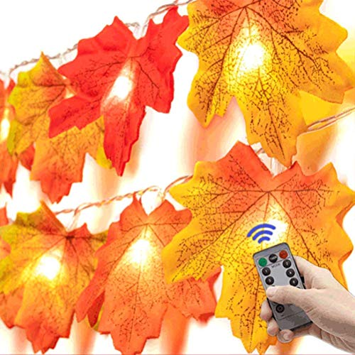 JIANMIN Decoración para el hogar 6M 40LED Led String Lightss Maple Leaf Fairy Lights Guirnalda de Acción de Gracias para Halloween Otoño Fiesta Decoración de Navidad
