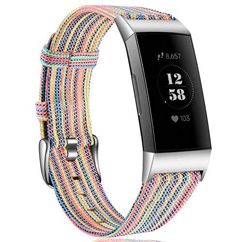 Ouwegaga Cinturino Compatibile con Fitbit Charge 3 Cinturini, Ricambio Tessuto Regolabile Braccialetto Polsino Compatibile con Fitbit Charge 3/Charge 4, Grande Colorato
