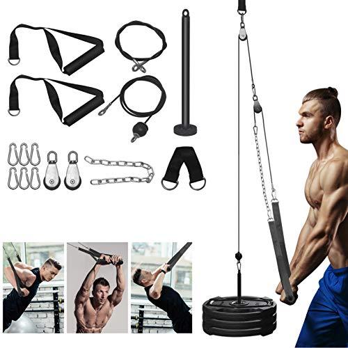 Sistema Cable Polea de Fitness con Cuerda Pesada, Equipo Máquina del Sistema Polea Cable Gimnasio Casa de Bricolaje para Curl Bíceps, Extensiones Tríceps, LAT Pulldowns, Entrenamiento Fitness Gym