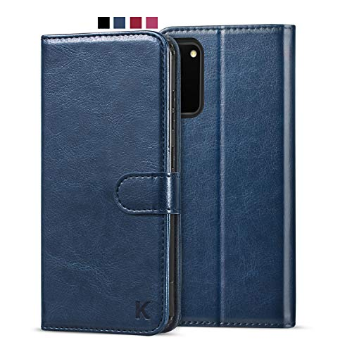 KILINO Galaxy S20 5G Wallet Case [Premium Leather] [Soft TPU] [RFID Blocking] [Shock-Absorbent Bumper] [Card Slots] [Kickstand] [Magnetic Closure] Flip Folio Cover for Samsung Galaxy S20 5G - Blue