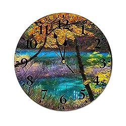 Promini Fashion PVC Wall Clock Blue Lake Goshikinuma Fukushima Japan Autumn Silent Non-Ticking Wall Clock Custom PVC Clock Decorative Clock color5 50cm/19.69in