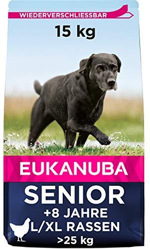 Eukanuba Senior Trockenfutter für ältere große Hunde mit frischem Huhn, 15kg