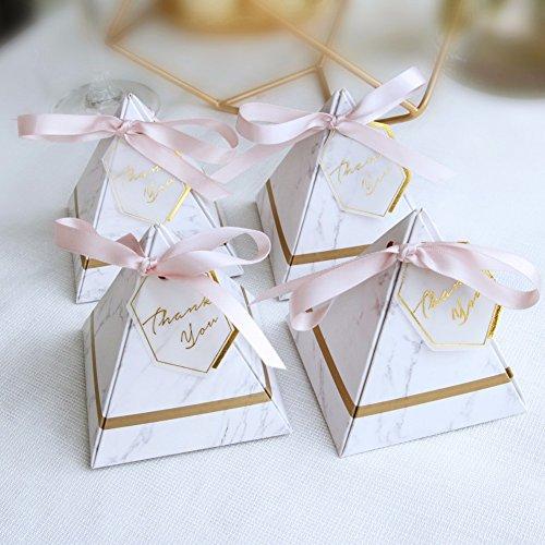Cvery Lot de 100boîtes à dragées triangulaires avec ruban et étiquettes de remerciement de style européen à motif marbre pour fête d'anniversaire, Pas de zéro, s, S