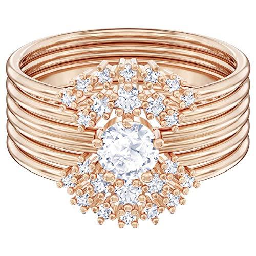 SWAROVSKI Crystal Authentic Edición Limitada Penélope Cruz Moonsun - Anillo apilable chapado en oro rosa, tamaño 9