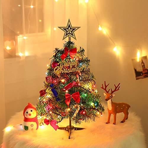 YQing 50cm Künstlicher Weihnachtsbaum mit Lichtern, Unechter DIY Weihnachtsbaum mit 19 Stücke Weihnachtsschmuck, Klein Weihnachtsbaum Deko für Schreibtisch, Einkaufsgeschäft Büro