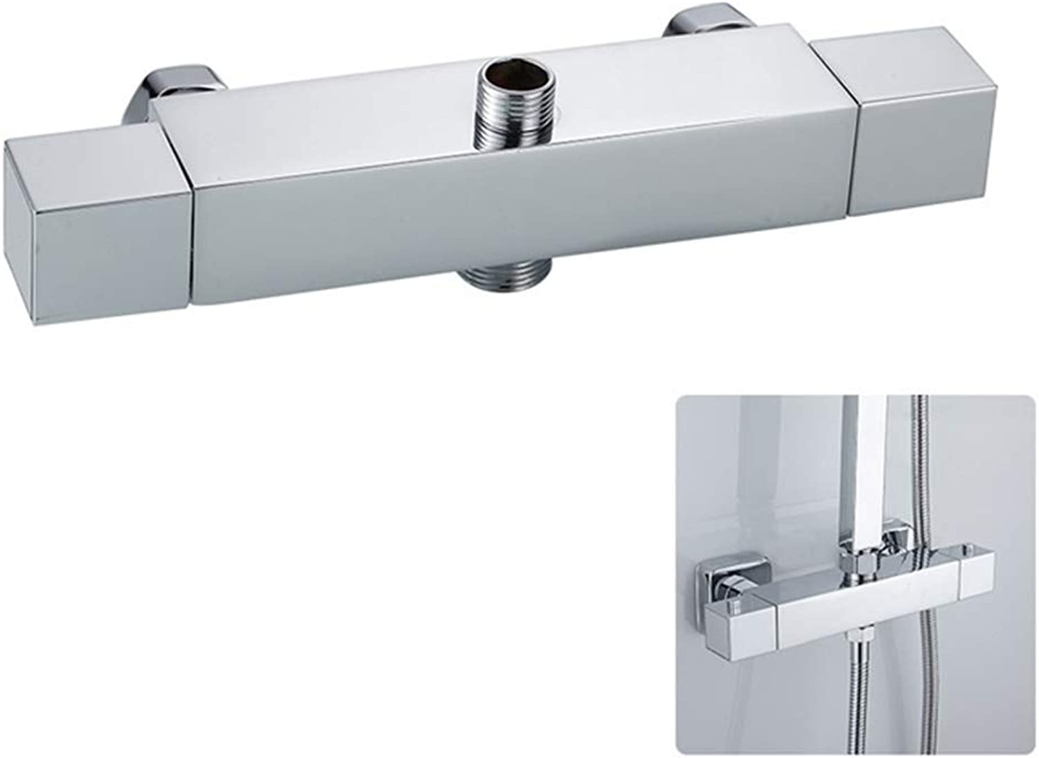 Homeofying Square Intelligent Thermostatic Double Outlet Shower Faucet Bathroom Angle Valve 1