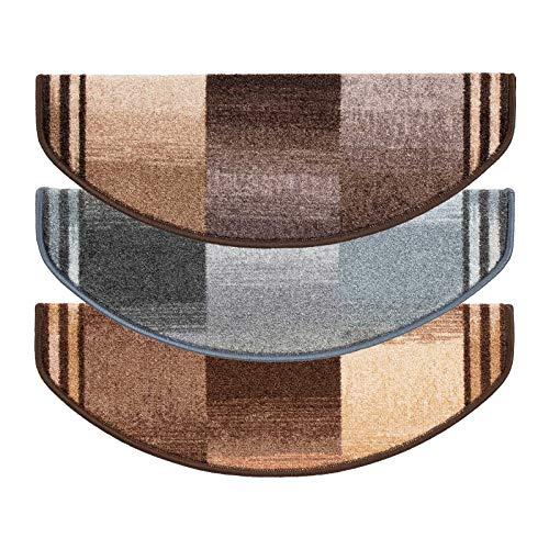 Stufenmatten rost Gemustert | Qualitätsprodukt aus Deutschland | GUT Siegel | kombinierbar mit Läufer | 65x23,5 cm | halbrund | 15er Set