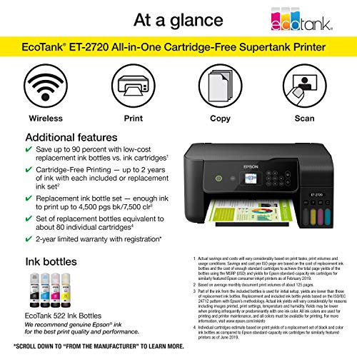 Epson EcoTank ET-2720 Wireless Color All-in-One Supertank Printer with Scanner and Copier - Black Photo #5