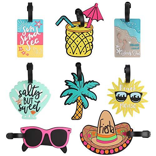 Dadabig 8 Pezzi Etichette per Bagagli, Spiaggia Tag Identificative di Viaggio Valigia Unici in PVC ID Viaggio Borsa Tag per Zaino Valigia, 8 Stili