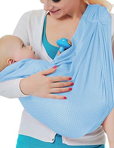 Vine Portable Porte-bébé Sling Wrap Echarpe Ring de Portage Epaule Pouch Plage Voyage - Bleu clair