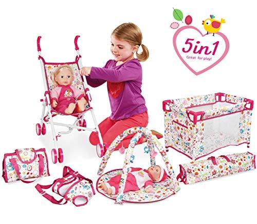 deAO Baby Set 5in1 Include Culla, Carrello, Zaino Porta Bimbi, Palestra e Borsa Giocattolo d'Imitazione per Bambole Bebe Gioca a Essere Mamma e papà (Bambola Non Inclusa)