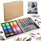 KINSPORY Juego de arte de 239 piezas, estuche de madera para colorear, kit de dibujo de pintura, marcadores, lápices de colores, bloc de dibujo para artistas en ciernes, niños, adolescentes, niñas