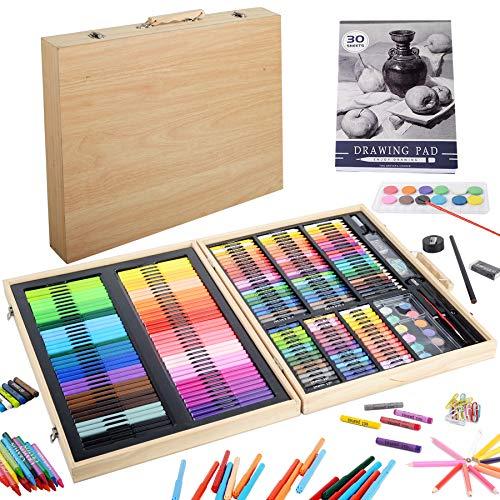 KINSPORY 239 pezzi set da disegno matite pittura colorare valigetta colori per bambini, kit disegno professionale pastelli a olio album acquarellabili materiale bambini stationery set scatola in legno