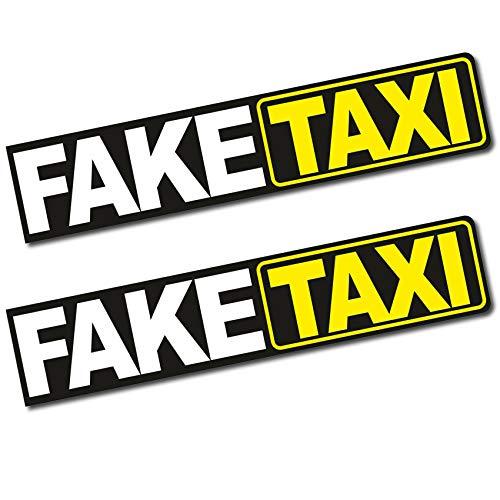 Finest Folia 2 x Aufkleber Faketaxi 13x2,7cm Funsticker Fake Taxi Driver Fun Aufkleber Hologramm Oilslick Sticker für Auto Motorrad Bus Wohnwagen Kfz Zubehör R103 (Normal)