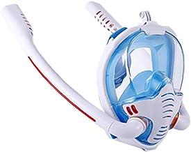 Snorkling Face Shield Full Face Double Tube Dykning Silikon Face Cover Anti-Fog och Anti-Leak Vit Blå L XL Storlek