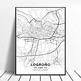linbindeshoop Lleida Toledo Logroño Vigo Murcia Burgos España Lienzo Arte Pintura Mapa Sala de Estar Cocina Cartel (LQ-300) 40x60cm Sin Marco