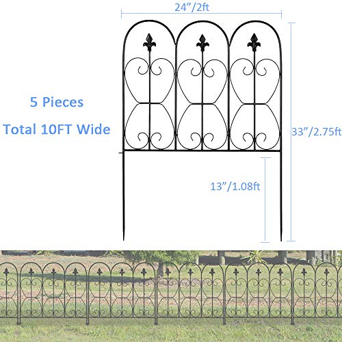 Junisus Garden Fence Fencing Panels Edging Fences Animal Barrier Yard Landscape Border Iron Metal Rustproof Black (5pcs 33'x24' Oval)