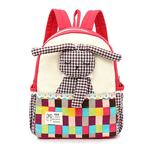 Cute Girl Backpack,Kids Canvas School Bookbags Toddler Rucksack Backpack Nursery Preschool Shoulder Bags, Lovely 3D Rabbit (2-7 Years Old)- Red