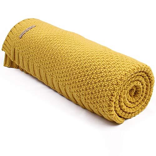 mimixing Mantas de bebé Mantas de cochecito de niño de punto suave, 100 x 80 cm (Amarillo)