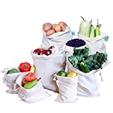 Reusable Cloth Produce Bags - Organic Cotton Cloth Vegetable Bags - Reusable Bulk Bags - Cloth Grocery Produce Bags - Flour Sack - Cotton Muslin Vegetable Storage Bags (2 XL, 2 L, 2 M, 2 S)