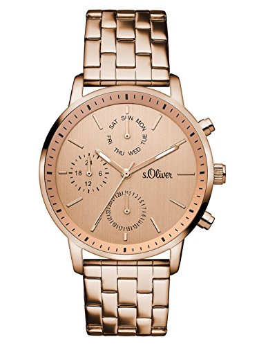 s.Oliver Damen-Armbanduhr Analog Quarz Edelstahl SO-3188-MM, rosé