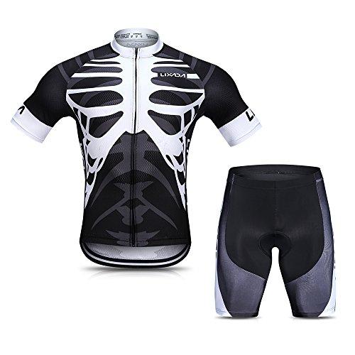 Lixada Herren Radtrikot Set, Atmungsaktiv Quick-Dry Kurzarm Radsport-Shirt + Gel Gepolsterte Shorts, (Schwarz&Weiß, S)