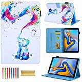 Galaxy Tab A 10.1 2019 Case (SM-T510/T515) - Techcircle Premium Slim PU Leather Stand Folding Folio Cover Case for Samsung Galaxy Tab A 10.1 Inch Tablet SM-T510/T515 2019 Release, Colorful Elephant