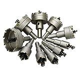 Cobeky Juego de 10 brocas HSS con punta de carburo para perforación de metal y madera para instalar cerraduras 16/18/19/22/25/30/35/42/50/53 mm