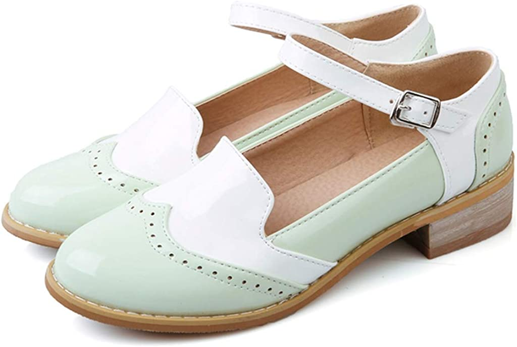 MIOKE Women's Two Tone Flat Mary Fresno Mall Up Lace Oxford Jane Wingt List price Shoes