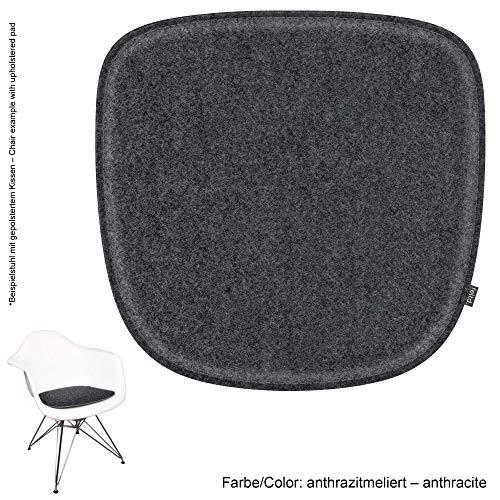 Feltd. Eco Sentido Cojín Adecuado para Vitra Eames Armchair DAW, Dar, Dax, Raro, Dal - 29 Colores con Antideslizante - Antracita/Antracita, 40x39cm