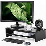 FITUEYES Elevador del Monitor Color Negro Talla Extra 2 Capas de Madera Soporte para Monitor L54xW25.5xH14cm DT205401WB