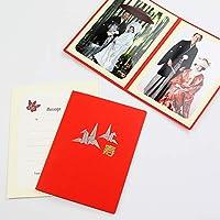 山田屋台紙店 写真台紙 結婚式 婚礼台紙 ポケット台紙 『寿/折り鶴』 Lサイズ 2面タテ (レッド)