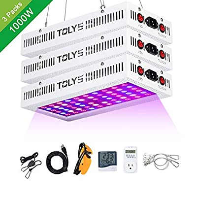 [3-Packs] 1000W LED Grow Light, TOLYS LED Plant Grow Lights Double Chips Full Spectrum Grow Lamping for Indoor Plants Veg and Flower, with Humidity Monitor Timer and Glasses(White)