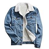 TOTOD Denim Coat Jean Jacket Women Vintage Upset Outwear Loose Fleece Inner Button Oversize Tunic Streetwear (Blue, 3XL)