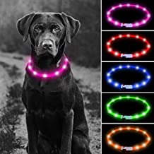 Higo LED Glowing Dog Collar, USB Rechargeable Flashing Pet Collars, Silicone Cuttable Light Up Dog Collar for Your Dogs Walking at Night (Pink)