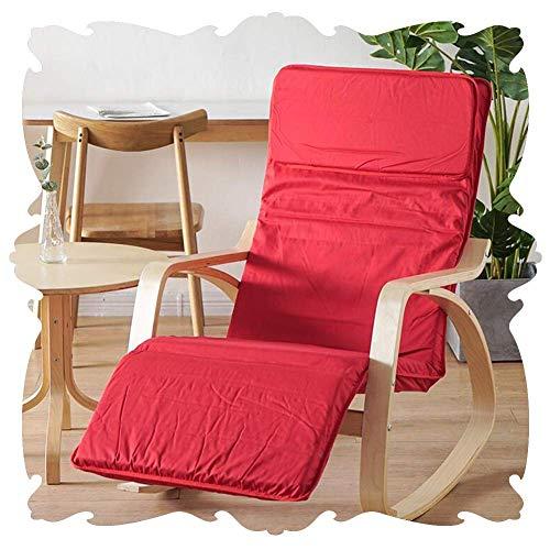 Lounge Chair Mecedora Plegable Sillones Sillón clásico con 5 Posiciones de Ajuste del reposapiés Porches dormitorios Rocker Asientos 5 Color (Color : Red, Size : 120x66x87cm)