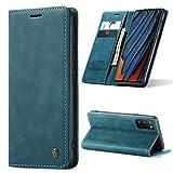 AKC Handyhülle Kompatibel mit Samsung Galaxy A41 Hülle Standfunktion Fallschutz-Technologie Schutzhülle Cover Echtleder Brieftasche-Blau