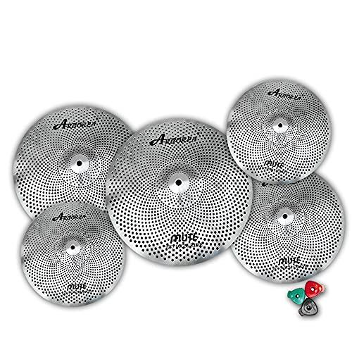 Arborea cymbal Mute Cymbal set Low Volume cymbal set 14'hihat+16'crash+18'crash+20'ride silver drummers practice cymbal