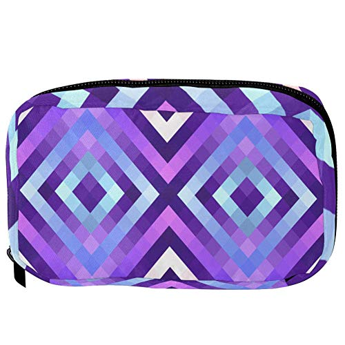 TIZORAX Cosmetic Bags Colored Diamond Shape Handy Toiletry Travel Bag Organizer Makeup Pouch for Women Girls