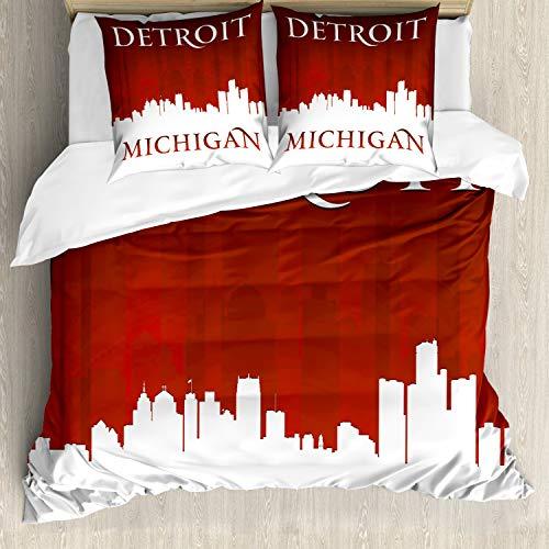 ABAKUHAUS Detroit Bettbezugs Set Für Doppelbetten, Michigan Stadt Briefe, Milbensicher Allergiker geeignet mit Kissenbezügen, Weiß und Rot