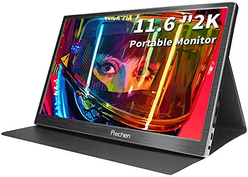 Prechen 11,6 Zoll tragbarer Monitor 2K 2560x1440 QHD IPS-Bildschirm Ultradünne CNC-Metallhülle Eingebauter Lautsprecher mit Zwei HDMI-Eingängen USB-Monitor für Laptop, PS4, Xbox, mit Schutzhülle