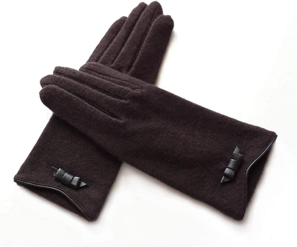 Rebily Autumn and Winter Ladies Gloves Wool Keep Warm Cold Protection Outdoor Leisure One Size Touch Screen Driving Riding Full Finger Gloves
