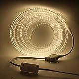 XUNATA Tira de luces LED con interruptor, 220 V, 2835 SMD, 120 LEDs/m, resistente al agua, sin alambre de plomo, flexible, para iluminación doméstica, decoración Bar (blanco natural, 1 m)