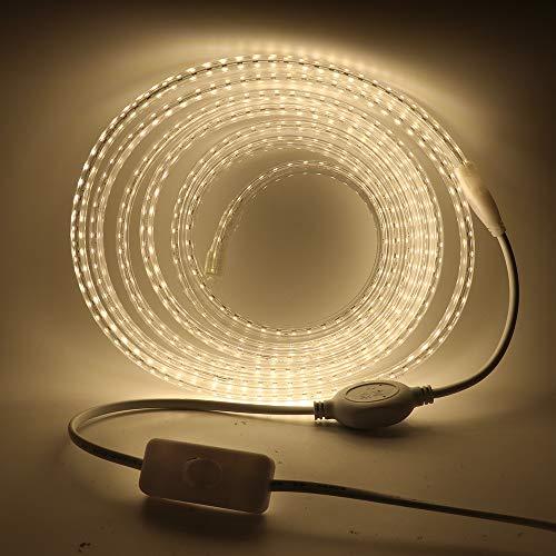 XUNATA LED Strip Streifen mit Schalter, 220V 2835 SMD 120leds/m IP65 Wasserdicht, Kein Bleidraht, Flexibel LED Lichtband Seil Licht Schlauch für Hausbeleuchtung Dekor Bar (Natürliches Weiß, 5M)