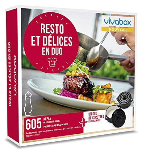Vivabox- Coffret cadeau couple - RESTO ET DELICES EN DUO - 605 diner ou atelier + 1 duo de cocottes