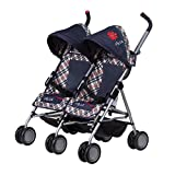 Daisy Chain Zipp Max-Zwillings-Puppenbuggy – Stoff in Classic Check. Empfohlen für Kinder...